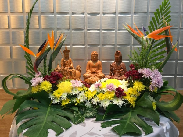 Flower arrangement for Buddhist funeral